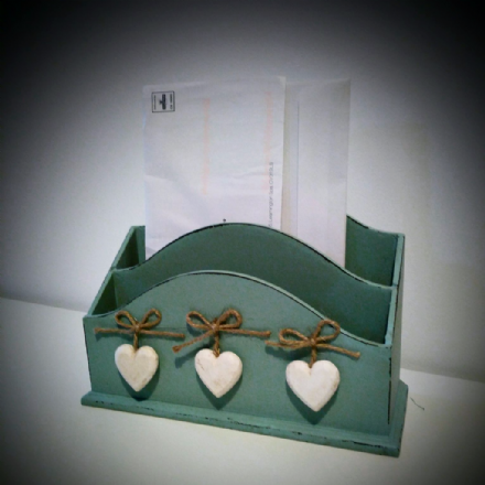 Wooden Letter Rack with Wooden Hearts -Duck Egg